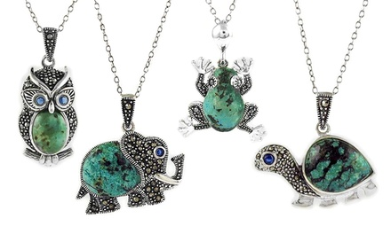 Genuine Marcasite and Turquoise Animal Pendants