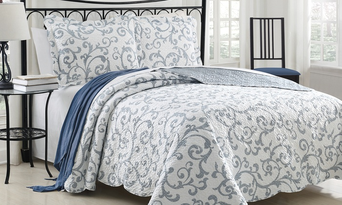 3-Piece Quilted Reversible Coverlet Set: Quilted Reversible Coverlet Set with Scalloped Edges. Queen or King for $44.99 or $49.99. Multiple Colors. Free Returns.