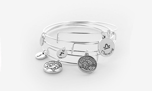 Monogram Online: Horoscope Bangle Personalized with Single Initial and Option for One or Two Charms from Monogram Online (Up to 83% Off)
