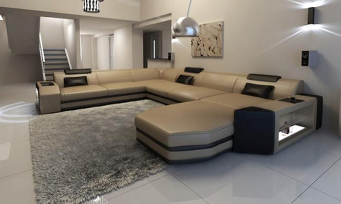 Luxus Designersofa Aus Leder Groupon Goods