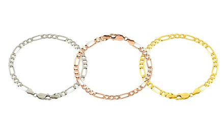 Solid 14K Gold Men's Figaro Chain Bracelet