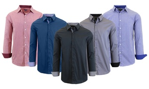 Men's Long Sleeve Solid and Pinstripe Slim-Fit Dress Shirts