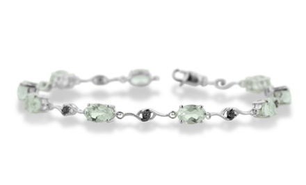 6 CTTW Green Amethyst and Black Diamond Accent Bracelet in Sterling Silver