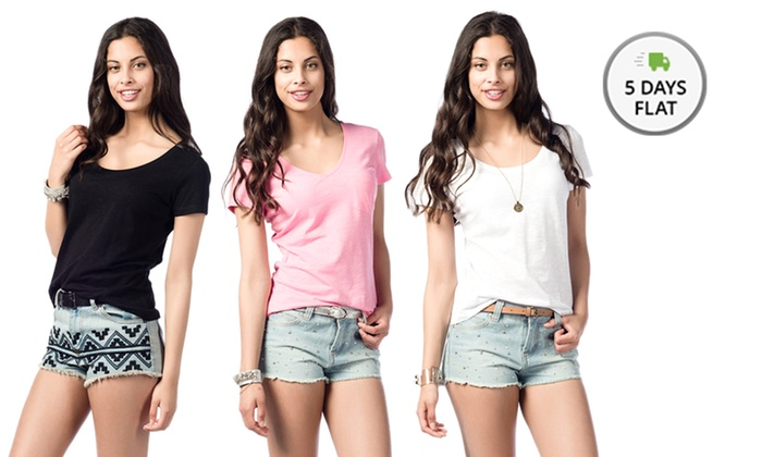 Women's 100% Cotton T-Shirt: Women's 100% Cotton T-Shirt. Multiple Styles Available. Free Shipping.