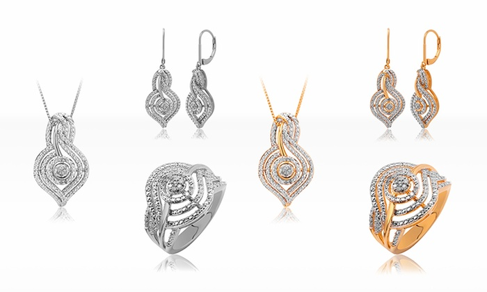 1/4 CTTW Diamond Earrings, Pendant, and Ring Set: 1/4 CTTW Diamond Jewelry Ensemble with Earrings, Pendant, and Size 7 Ring in Gold or Rhodium Finish. Free Returns.