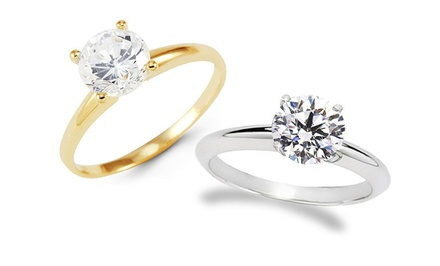 groupon daily deal - 1-Carat Round Certified Solitaire Diamond Ring in 14K Gold. Free Returns.