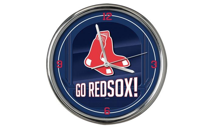 Boston Red Sox Go Team Chrome Clock Groupon