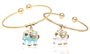 18k Gold-plated Elephant Charm Bracelets With Swarovski Elements