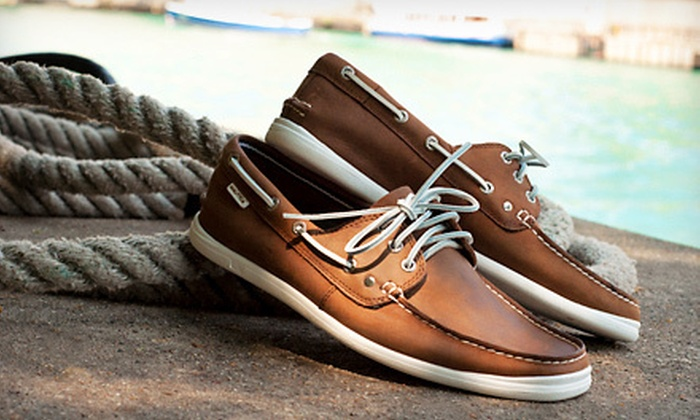 $39 for Nautica Men's Leather Boat Shoes | Groupon