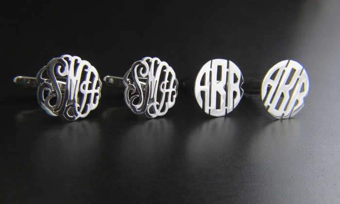 NameJewelrySpot: $34 a Set of Sterling-Silver Monogram Cufflinks from Name Jewelry Spot ($143.99 Value)