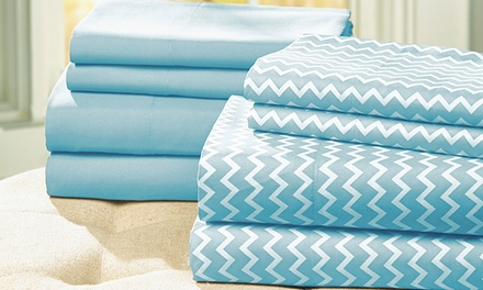 Chevron Microfiber Bed Sheet Set (8 Pieces)