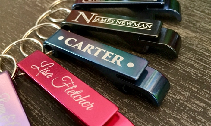 American Laser Crafts: Two or Five Personalized Aluminum Bottle Openers from American Laser Crafts (Up to 80% Off)