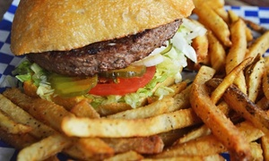 The Hangar: Burgers and Fries and/or Wing Baskets for Two or Burgers and Fries for Four at The Hangar (Up to 44% Off)