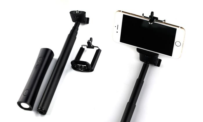 lax selfie stick with power bank groupon goods. Black Bedroom Furniture Sets. Home Design Ideas