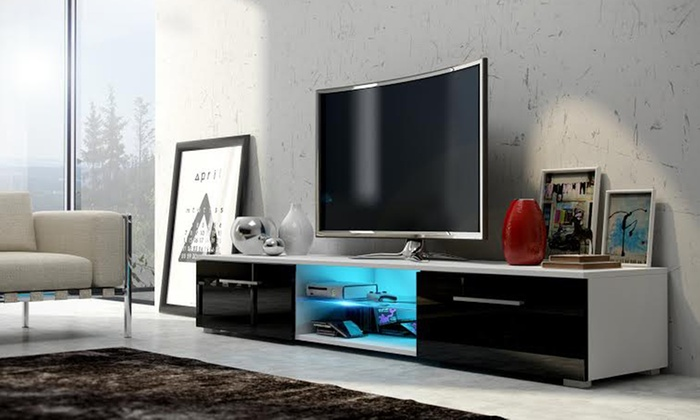 meuble tv led edith groupon shopping. Black Bedroom Furniture Sets. Home Design Ideas