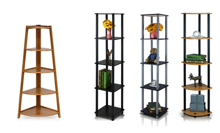 Furinno 5-Tier Corner Display Shelves from $21.99–$39.99