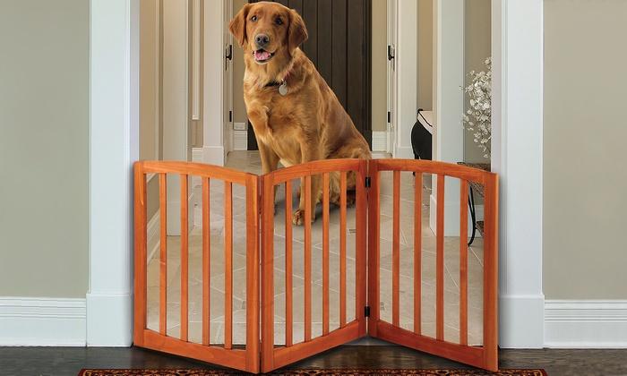 Solid Wood Adjustable Arched Pet Gate ...