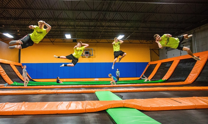 AirMaxx - St. Cloud - St. Cloud: Trampoline Jump Session for Two or Teen Jump Night Admission for Four at AirMaxx - St. Cloud (Up to 57% Off).