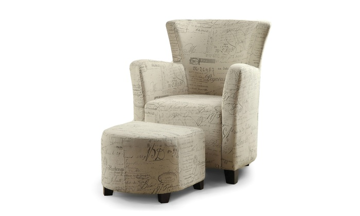 Benson French Scripted Patterned Fabric Club Chair With Ottoman Set ...