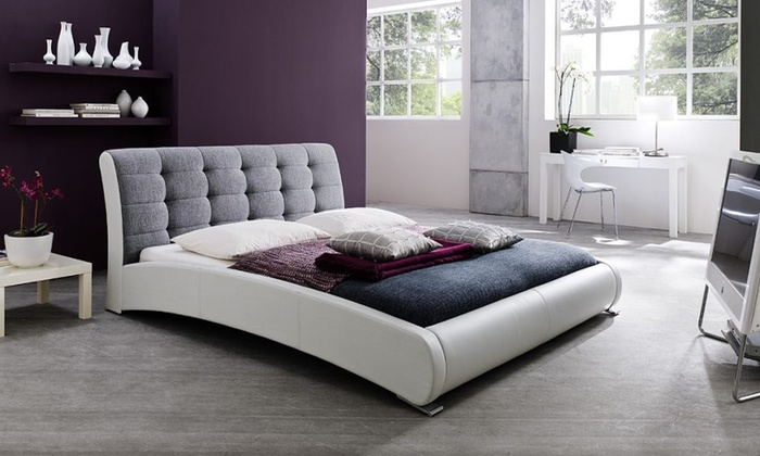 gray u0026 white upholstered platform bed in king size gray u0026 white upholstered platform bed