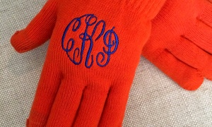 Embellish Accessories and Gifts: One, Two, or Four Pairs of Ladies' Monogrammed Text-Friendly Gloves from Embellish Accessories and Gifts (Up to 62% Off)