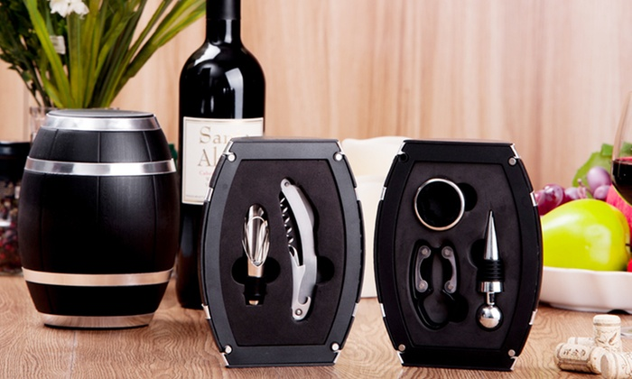 5-Piece Wine Tool Set in Wine Barrel: 5-Piece Wine Tool Set in Mini Wine Barrel. Free Returns.