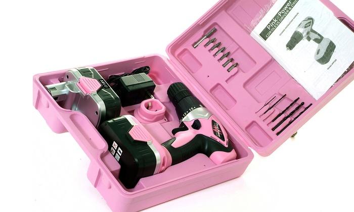 pink power cordless drill kit