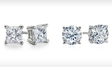 Round or Princess-Cut Stud Earrings with Swarovski Elements Crystals in 14K Solid White Gold