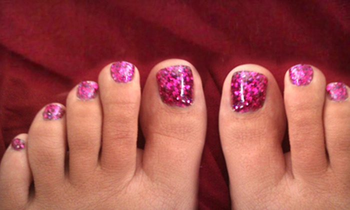 Nails by Rubie - Danville: $22 for a Rock Star or Hollywood Toes Glittery Gel Treatment at Nails by Rubie ($45 Value)