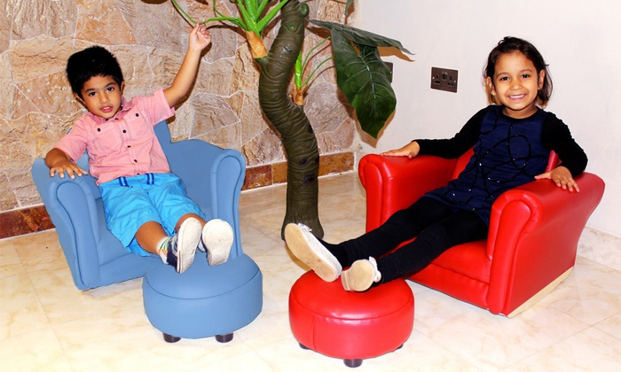 Kids 39 rocking chair footstool groupon for Childrens rocking chair with footstool