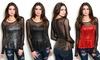 Women's Long-Sleeve Sweetheart Peplum Top with Mesh Sleeves: Women's Long-Sleeve Sweetheart Peplum Top with Mesh Sleeves