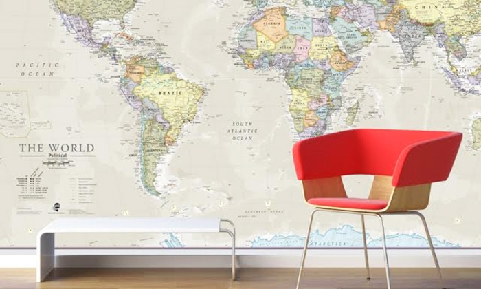 Carte du monde murale géante | Groupon Shopping