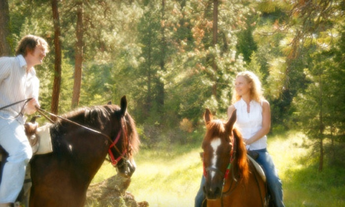 Equine Boulevard - Agawam Town: $65 for a Romantic Horseback Ride for Two with Hot Cocoa in a Cabin or by Campfire from Equine Boulevard ($150 Value)