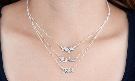 One, Two, or Three Customizable Sterling Silver Name Pendants from Monogram Hub from $20 to $42