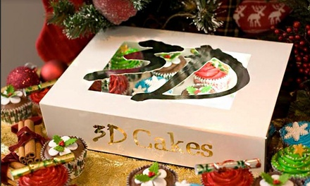 12 Luxury Christmas Cupcakes or 12 Luxury Non Festive Cupcakes at 3D Cakes (71% Off)