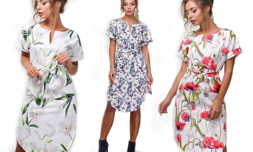 tunika-kleid mit blumen-muster   groupon goods