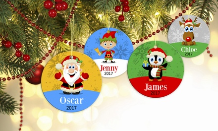 Up to Five Personalised Christmas Ornaments from Dinkleboo (Up to 72% Off)