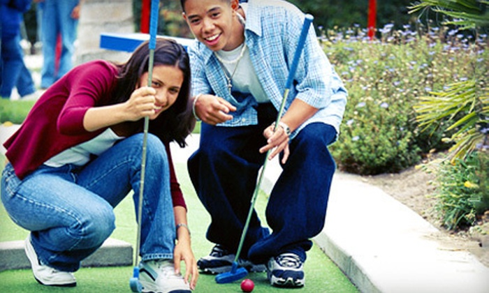 Tropical Falls Miniature Adventure Golf - Burton: Mini Golf for Two Adults or Family Fun-Park Package at Tropical Falls Miniature Adventure Golf in Burton (Up to 57% Off)