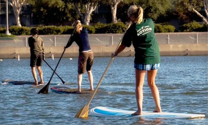 Action Watersports - Marina Del Ray: $60 for a Weekend or Weekday Paddleboard Lesson with Action Watersports in Marina del Rey ($129 Value)