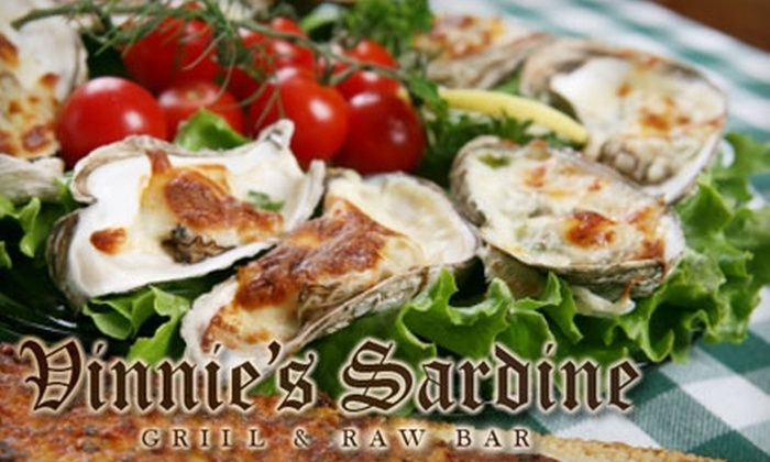 Vinnie's Sardine Grill and Raw Bar - Multiple Locations: $10 for $20 Worth of Seafood at Vinnie's Sardine Grill and Raw Bar