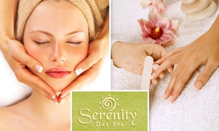 Serenity day spa - Multiple Locations: $49 for a Massage or a Facial and Manicure from Serenity Day Spa (Up to $89 Value)