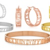 Roman Numeral Hoop Earrings and Bangle Set