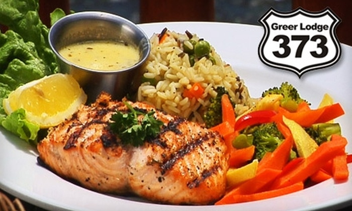 Greer Lodge Resort and Cabins - Multiple Locations: $15 for $30 Worth of Grilled Fare and Drinks at 373 Grill Restaurant at the Greer Lodge Resort & Cabins