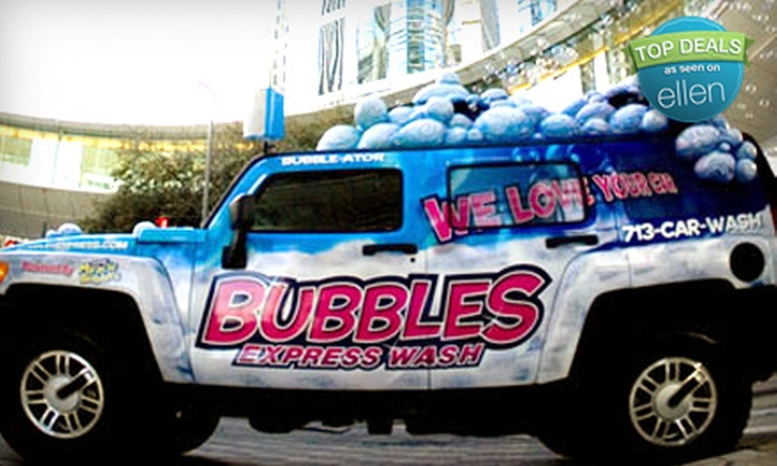 Bubbles Express Wash - Multiple Locations: Car Washes at Bubbles Express Wash (Up to 59% Off). Three Options Available.
