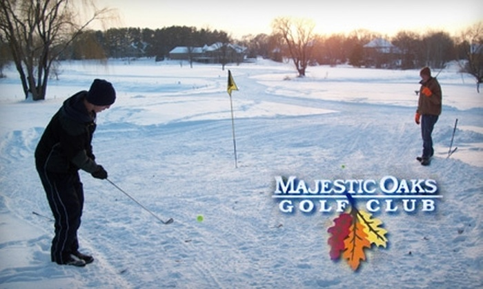 Majestic Oaks Golf Club - Ham Lake: $12 for a Round of Snow Golf for Four and Four Hot Beverages at Majestic Oaks Golf Club in Ham Lake
