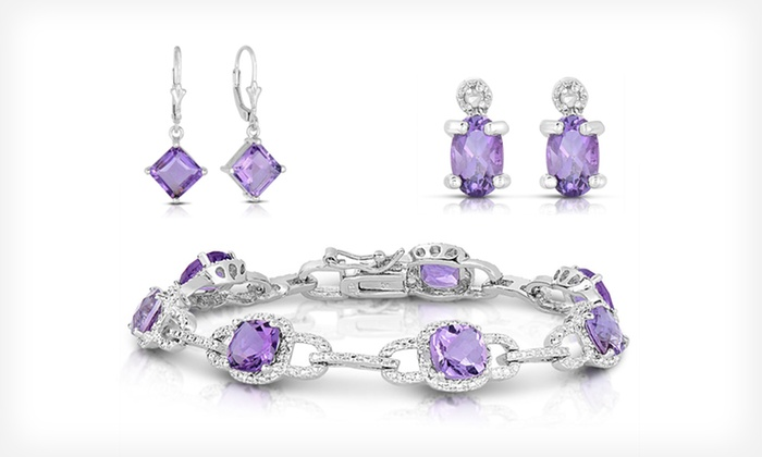 Amethyst and Sterling Silver Jewellery: Sterling Silver Amethyst Jewellery (Up to 97% Off). Multiple Pieces Available.