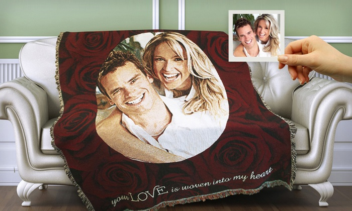 "PhotoWeavers: $59.99 for a Custom 71""x53"" Woven Photo Blanket from PhotoWeavers ($128 Value)"