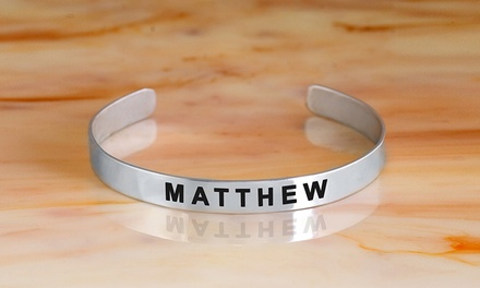 $18.99 for an Engraved Name Bangle Plated in Sterling Silver from MonogramHub ($83.99 Value)