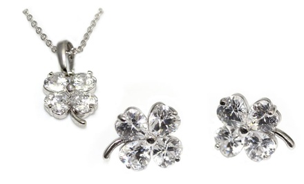 Clover Pendant and Stud Earrings Set with Swarovski Elements