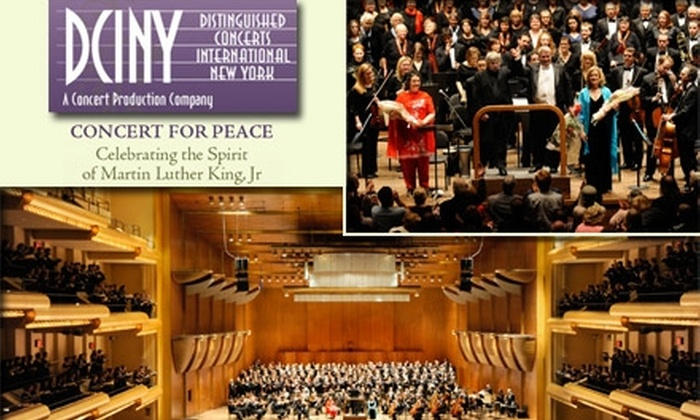 Concert for Peace - New York City: $10 for One Ticket to the Concert for Peace at the Lincoln Center ($20 Value). Buy Here for Orchestra Seat to the January 18 Performance at 7:30 p.m. See Below for Additional Seating Options.